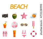 beach icon set. flat design...