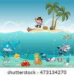 tropical island with cartoon... | Shutterstock .eps vector #473134270