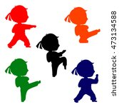 set of colorful karate poses...   Shutterstock .eps vector #473134588
