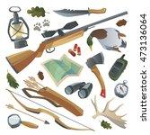 big hunters stuff set. weapon ... | Shutterstock .eps vector #473136064