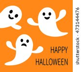 funny flying ghost. smiling and ... | Shutterstock .eps vector #473144476