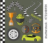 car race icons set. stopwatch... | Shutterstock . vector #473148454