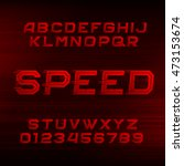 speed alphabet font. oblique... | Shutterstock .eps vector #473153674