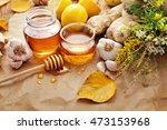 honey  garlic  herbs  lemon and ... | Shutterstock . vector #473153968
