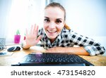 young woman in home office...   Shutterstock . vector #473154820