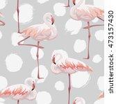 pink flamingo seamless pattern | Shutterstock . vector #473157430