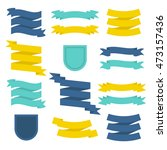 flat ribbons and badges set.... | Shutterstock .eps vector #473157436