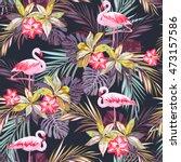 tropical summer seamless... | Shutterstock . vector #473157586