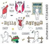 hello autumn. doodle vector... | Shutterstock .eps vector #473164600
