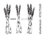 3 bundle of asparagus of 3 and... | Shutterstock .eps vector #473175160