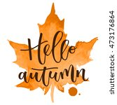 hello autumn hand written... | Shutterstock .eps vector #473176864