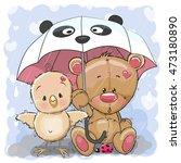 Cute Cartoon Bear And Chicken...