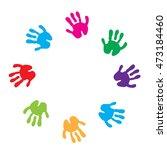 children hand prints frame....   Shutterstock .eps vector #473184460