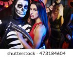 skeleton posing with his evil... | Shutterstock . vector #473184604