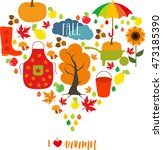 autumn pattern  background. set ... | Shutterstock .eps vector #473185390