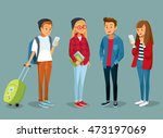 vector students with gadgets... | Shutterstock .eps vector #473197069