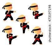set of karate poses in cartoon...   Shutterstock .eps vector #473197198