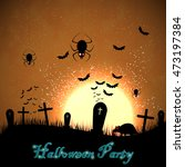 halloween party on a cemetery...   Shutterstock .eps vector #473197384