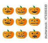 halloween pumkin vector orange... | Shutterstock .eps vector #473200330