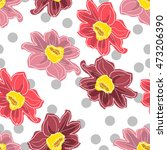 dahlia floral seamless vector...   Shutterstock .eps vector #473206390