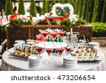 pyramid of glasses with wine on ... | Shutterstock . vector #473206654