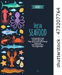 Seafood Vector Menu Template...