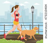 woman running with her dog | Shutterstock .eps vector #473210404