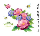 floral design with violet and... | Shutterstock .eps vector #473215204