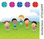 fun in the rain. vector... | Shutterstock .eps vector #473218399
