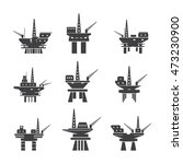 oil platform icons set. vector... | Shutterstock .eps vector #473230900