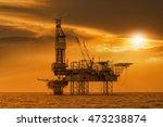 silhouette of oil rig  oil jack ... | Shutterstock . vector #473238874