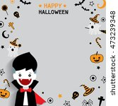 cute little vampire with happy... | Shutterstock .eps vector #473239348