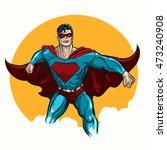 superhero standing with cape...   Shutterstock .eps vector #473240908