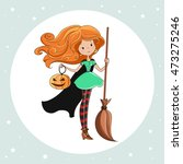 witch  halloween witch  little...   Shutterstock . vector #473275246