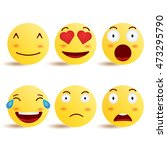 smiley face icons or yellow... | Shutterstock .eps vector #473295790