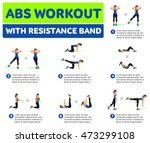 abs workout with resistance... | Shutterstock .eps vector #473299108