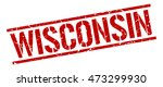 wisconsin stamp. red square... | Shutterstock .eps vector #473299930