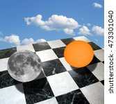 Small photo of Metaphysical composition with the sun and the moon on a checkered marble floor over blue sky with clouds (collage made with my own photos taken with a telescope)