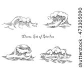 waves. set of sketches black... | Shutterstock . vector #473305090