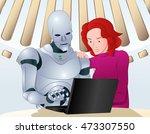 illustration of a droid robot...   Shutterstock . vector #473307550