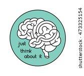 vector logo of human brain view ... | Shutterstock .eps vector #473325154