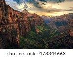 Sunset On Canyon Overlook  Zio...