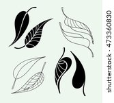 graphic decorative set of leaf... | Shutterstock .eps vector #473360830