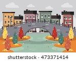 autumn city landscape. old town ...   Shutterstock .eps vector #473371414