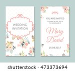 wedding set. romantic vector... | Shutterstock .eps vector #473373694