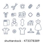 sewing icons flat thin line... | Shutterstock .eps vector #473378389