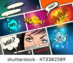 speech bubbles on a comic strip ... | Shutterstock .eps vector #473382589