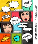 comic speech bubbles on a comic ... | Shutterstock .eps vector #473382604