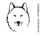 white wolf's portrait | Shutterstock .eps vector #473386813