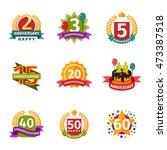 birthday badge banner design... | Shutterstock .eps vector #473387518